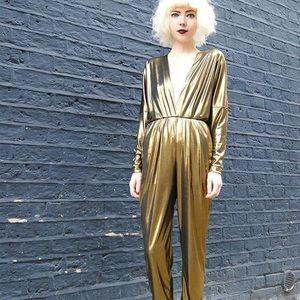 a865ada807f4 American Apparel Pants - American Apparel Gold Lame  Jumpsuit!